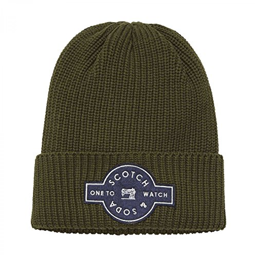 Scotch & Soda Herren Mütze Rib-Knit Beanie 139921 Military One size (Rib Beanie Knit)