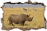 Pixxprint 3D_WD_S1163_92x62 Breitmaulnashorn vor einer Gruppe Zebras Wanddurchbruch 3D Wandtattoo, Vinyl, bunt, 92 x 62 x 0,02 cm