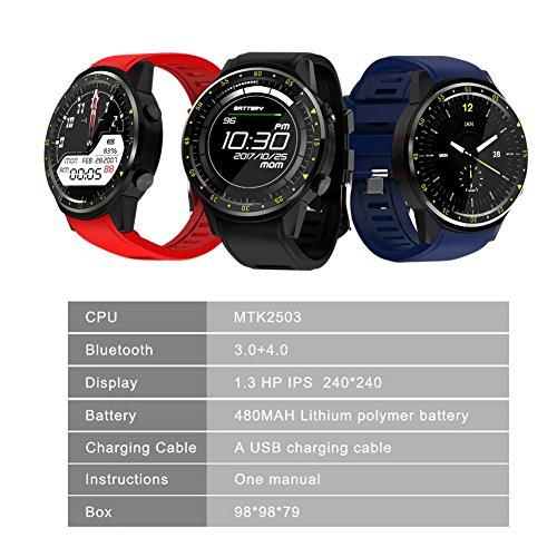 Relojes Inteligente GPS Deportivo con Doble Cámara 1.3 Pantalla Táctil Fitness Tracker Pulsómetro Monitor De Sueño Bluetooth Smartwatch Compatible Android Samsung para Hombre Mujer