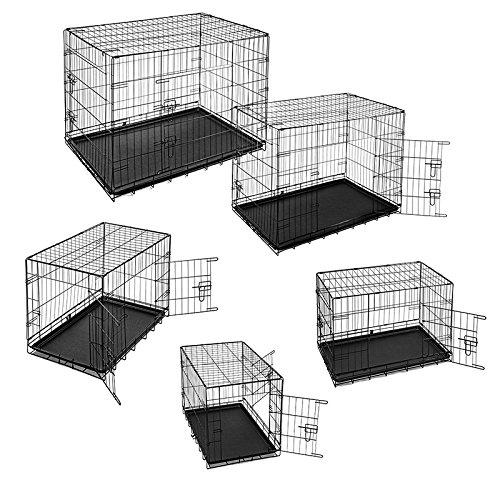 ESTEXO® Hunde-Transportbox, S - XXL, Auto Hundekäfig, Gitterbox, Hundebox faltbar, Reisebox (XL)