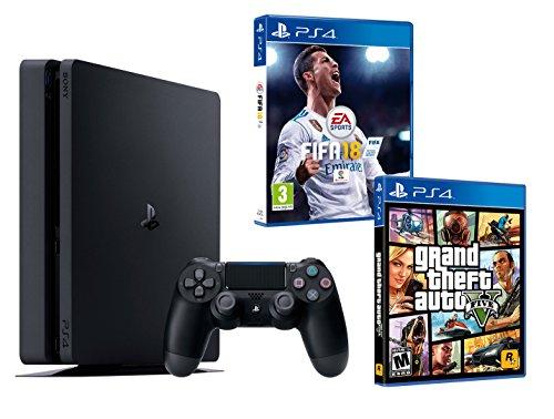 PS4 Slim 1TB Playstation 4 Pack 2 giochi. FIFA 18 + GTA V