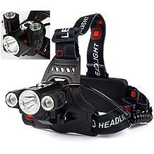 TurnRaise Linterna Frontal LED , 4 Modos Linterna Frontal Cabeza Impermeable LED de 5000 Lumens para Camping /Pesca /Ciclismo /Carrera /Caza