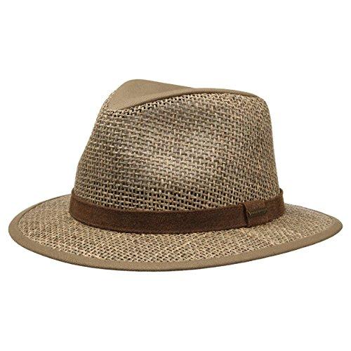 Stetson Chapeau Medfield Seagrass Homme - en Paille pour de Soleil avec Bandeau Cuir, Passepoil Printemps-ete