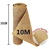 TtS 30cmx10M Hessian Roll Hessian Table Runner Rustic Burlap Sewed Edge Vintage Shabby Chic Xmas Decoration