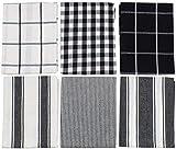 6x Gingham Check Nadelstreifen Streifen schwarz weiß 100% Baumwolle Küche Geschirrtücher