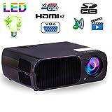 Mini vidéoprojecteur HD 2600 lumens 110W home cinema HDMI USB Noir