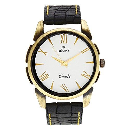 LUCERNE Analogue White Designer Dial Black Leather Strap Casual Watch For Men A Modern Men Watch Gifts For Friends