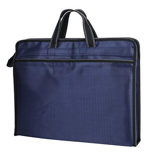 Carpeta de B4bolso business hombre toalla de caso Commercial caja Funda de ordenador de cierre cremallera (Oxford tela A cuadros extensible mochila de Document Durable, color azul marino Horizontal