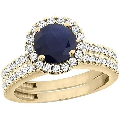 In oro giallo 14 k di alta qualità con zaffiro blu rotondo da 6 mm, 2 pezzi, Set di anelli di fidanzamento, motivo Halo, con galleggiante, taglie
