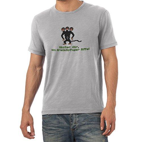 NERDO - Dreiköpfiger Affe - Herren T-Shirt Grau Meliert