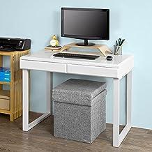 SoBuy® Mesa de escritorio, Mesa de ordenador con dos cajones,color blanco,FWT27-W,ES