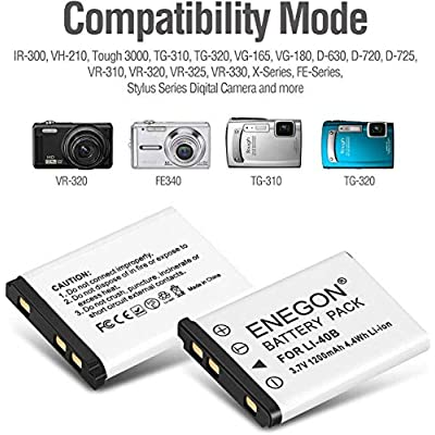 ENEGON Replacement Battery 2-Pack and USB Charger Kit for Olympus LI-40B LI-42B LI-40C work with Olympus D-630 720 725 IR-300 FE-150 160 190 220 230 X-Series and More Cameras