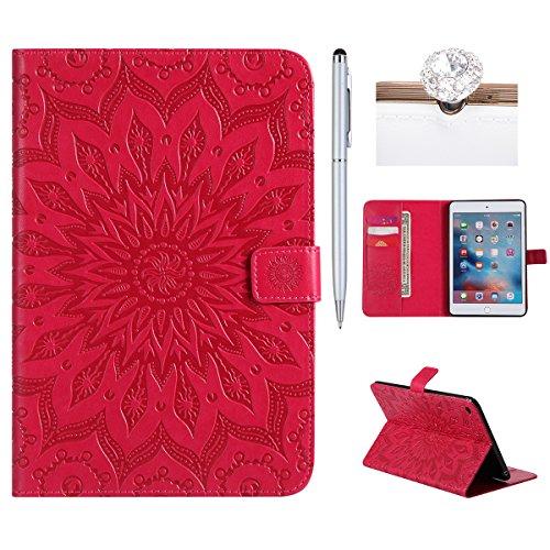 Felfy Ledertasche für iPad Mini 4,iPad Mini 4 Hülle Leder,iPad Mini 4 Case Rosa Rote Leder Elegante Retro Handyhülle Tasche Flip Cover Wallet Sonnenblume Prägung Muster Tasche Ipad Flip Case