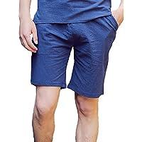 junkai Uomini Lino Bermuda Slim Direttamente Elastica Casual Pantaloni 76ce0236a24