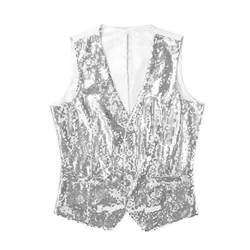 iixpin Pailletten Weste Herren V-Ausschnitt Anzug-Weste Kellnerweste Modern Slim Fit Workwear Bra Weste Tanz Kostüm Silber - Moderne Kostüm Für Tanz
