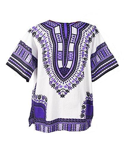 Lofbaz - Unisex Dashiki - Traditionelles Oberteil mit afrikanischem Druck Weiß & Violett