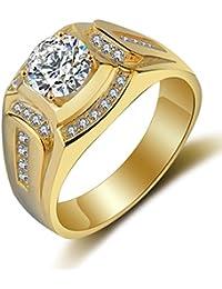 Anillo oro hombre joyería de moda de boda y compromiso anillos de sello de bandas con chapado en oro regalo de promesa y eternidad para el marido