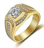 Anillo oro hombre joyería de moda de boda y compromiso anillos de sello de bandas con chapado en...