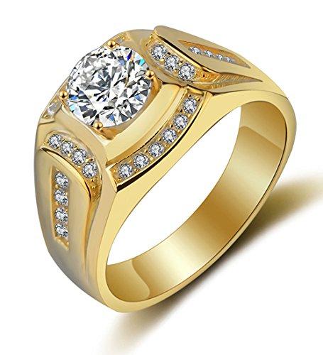 Gold Ringe Herren Männer Modeschmuck Verlobungsringe Hochzeit Siegelring Band Ring mit Vergoldet Jahrestag Versprechen Geschenk für Ehemann (Hochzeit-band Für Männer)