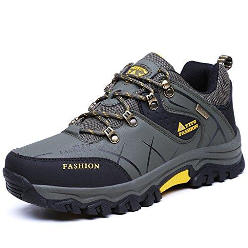 Laiwodun Men's Trecking and Hiking Shoes Sports Outdoor Waterproof Antiskid Cushioning Boots (L,Green (Flache Schuhe Green)