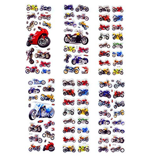Inveroo 6 Blätter Motorrad Motorrad Auto Racing Scrapbooking Kawaii Emoji Reward Kids Toys Bubble Puffy Sticker Factory Direct Sales -