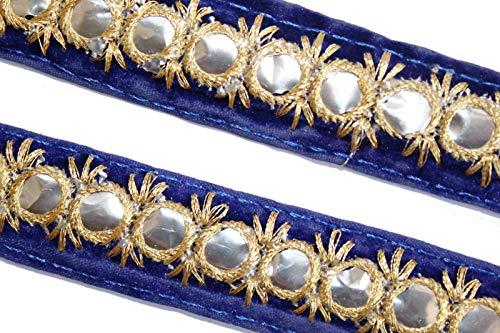 bestickt Spitze Schal dünn dupatta Grenze Spiegel Pailletten mit Stoff blau trim-width 01inch-price für 01yard-idl291