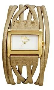 Delta - DL210 - Montre Mode Femme - Quartz analogique - Bracelet en Cuir doré