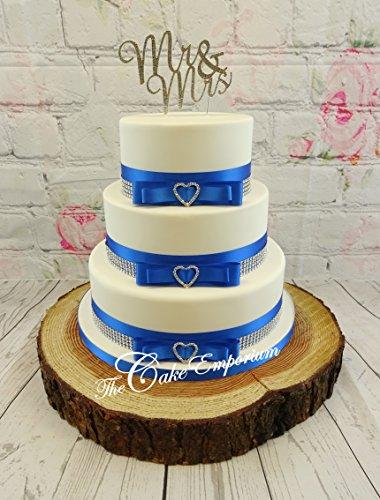 Le Gâteau Emporium Ltd gâteau de mariage gâteau de cœur 3 Boucles en strass – Strass – Mr & Mrs Script – Rouge satiné et effet Diamante Trim