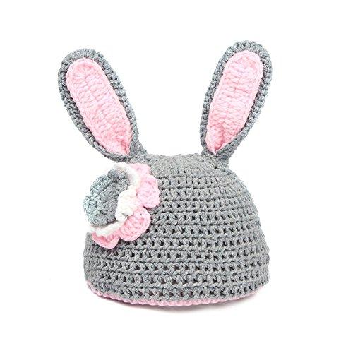 Imagen de mioim® bebé recién nacido infantil lindo conejo hecha a mano de ganchillo del bebé conjunto sombrero ropa disfraz fotografía memorias regalo gris alternativa