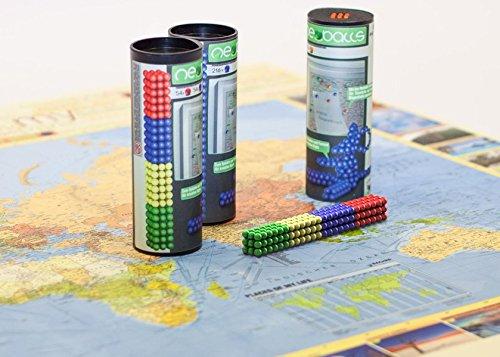 Magnetkugeln NEOBALLS Set 216-teilig grün-gelb-blau-rot, für Markierungen auf Landkarten -
