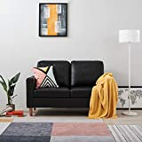 Targos 2 Seater Sofa Couch Settee Black Faux Leather Modern Design Living Room Office Furniture