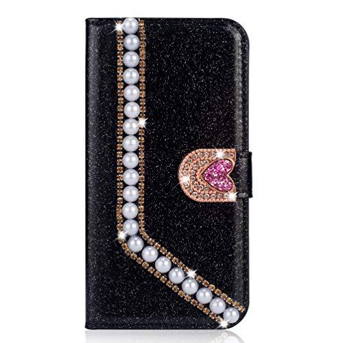 Miagon Hülle Glitzer für iPhone 8 Plus / 7 Plus,Luxus Diamant Strass Perle Herz PU Leder Handyhülle Ständer Funktion Schutzhülle Brieftasche Cover,Schwarz