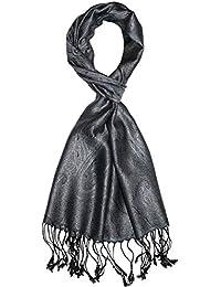 Lorenzo Cana Pashmina pour l´homme - écharpe de 100% soie avec les mesures  de 35 x 160 cm - fait à la main – souple élégant en gris argente bleu… f253d4eb466