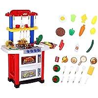 Shinehalo 33pcs Juguetes de Cocina para Niños62*36*83cm,con Agua RealEfecto de Luz y Sonido Cocina Electrónica Juego de Cocina Juego de Imaginación Juego de Juguete para Niños Navidad presentes-Rojo