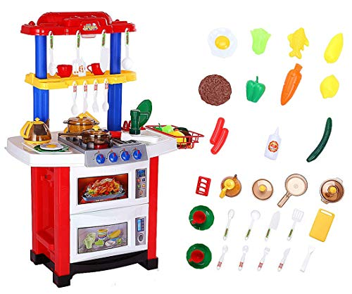 Toddler Kitchen Playset with Real Water, Light and Sound Effects, Shinehalo Pretend Play Toys for Kids, 33PCS, 78cm Height, Electronic Kitchen Cooking Role Play Toy Set Presents for Children - Red
