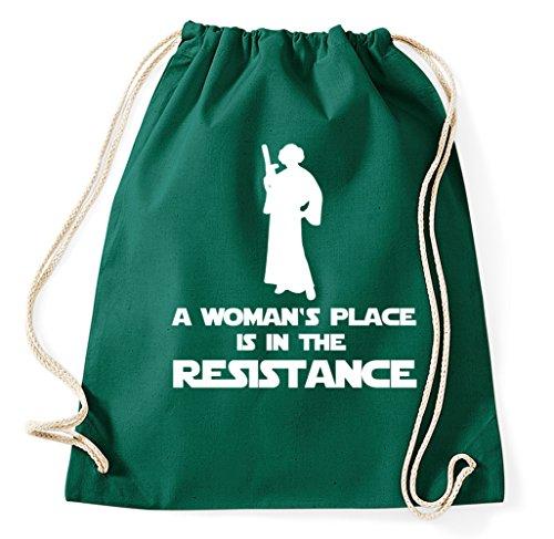 A Woman's Place Is In The Resistance Prinzessin Leia Princess Turnbeutel Sportbeutel Jutebeutel Rucksack Hipster, flaschengrün