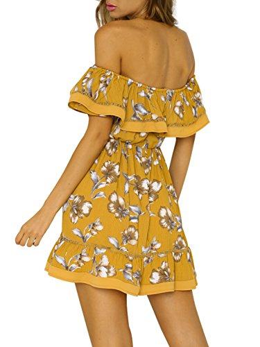 l'abbigliamento delle donne simplee floreali sexy da spalla mini vestito a pieghe con decorativo Multicolore 1