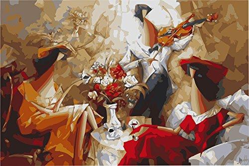 IPLST@ Senza cornice digitale dipinti ad olio da Numeri, Moderno Pop Art che suona il violino, DIY Pittura a olio Kit - 16x20