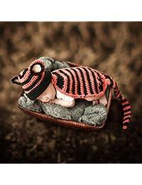 HAPPY ELEMENTS Traje de bebé recién nacido Beanie Cloak Tiger Knit Crochet Fotografía Apoyos Infant Toddler Photo Props Ropa