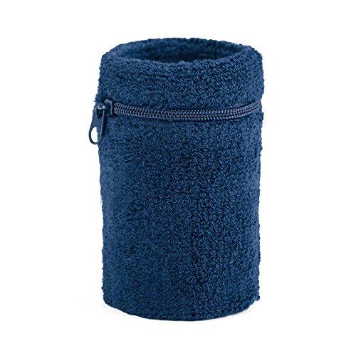GOGO Schweißband-Geldbeutel, dick, stabil, mit Reißverschluss, verschiedene Farben Blau navy (Schweißbänder Navy)