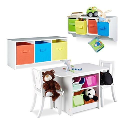 2 tlg. Kindermöbel Set ALBUS, Wandregal für Kinder, Sitzbank mit Stauraum, Kindersitzgruppe mit 2 Stühlen, Faltbox, weiß (Falt-wand-sitz)