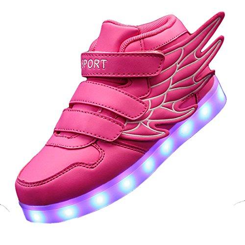 c6a6941f1266 Gaorui Kinder Jungen Mädchen Bunte LED leuchtet Sportschuhe Sneakers  athletische Schuhe mit Flügel mit USB