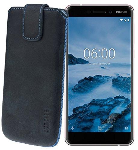 Suncase Original Etui Tasche für Nokia 6 (2018) | Nokia 6.1 *Lasche mit Rückzugfunktion* Handytasche Ledertasche Schutzhülle Case Hülle in Pebble-Blue