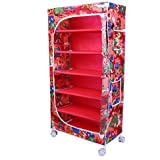 Little One's | 6 Shelves Foldable Wardrobe | Jungle Red