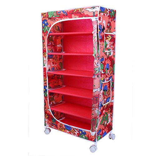 Little One's 6 Shelves Steel Structure Folding Wardrobe with Wheels – Jungle Red