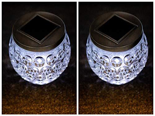 Garden Mile 2 x groß Grübchen Glas Gefäß Solarlampen Außen Tisch Beleuchtung, dekorativ Terrasse Tischlampe Garten Beleuchtung Warmes Weiß LED Lichter Solar Glas Gefäß Lichter Garten Verzierungen (Tisch Glas Terrasse)