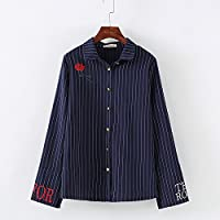 LGK&FA Vertical Striped Shirt With Long Sleeved Loose Sleeves M Blue