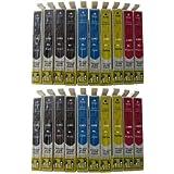 20 Cartouches d'encre compatibles pour Epson T1281 T1282 T1283 T1284 / contenant 8 x Noir 4 x blau 4 x rot 4 x Jaune / EPSON Stylus Office BX 305 305F / EPSON Stylus S 22 / Epson Stylus SX 125 130 230 235 235W 420 420W 425 425W 435 435W 440 440W 445 445W