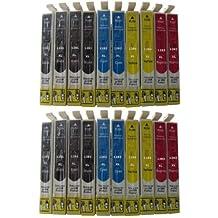 20 Cartuchos de Tinta compatible con Epson T1281 T1282 T1283 T1284 / incluye 8 x Negro 4 x Cian 4 x Rojo 4 x Amarillo / EPSON Stylus Office BX 305 305F / EPSON Stylus S 22 / Epson Stylus SX 125 130 230 235 235W 420 420W 425 425W 435 435W 440 440W 445 445W