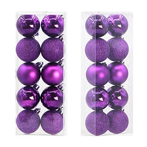 Boule de Noel Sapin de Noel Boules Paillette 5cm 10pcs Ambiance Decoration (Violet)